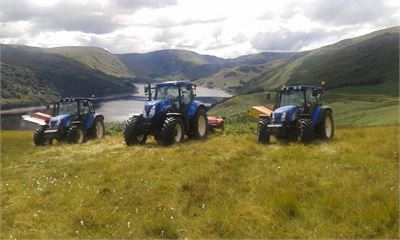 Tractors ready for cutting bracken above Ullswater