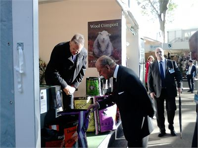 Simon with the Duke of Edinburgh on Dalefoot Composts' stand