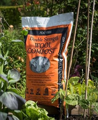 Double Strength Wool Compost in Vegetable garden